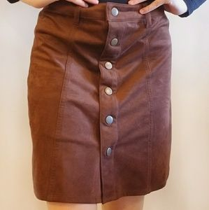 Mossimo Button down Brown suede skirt!